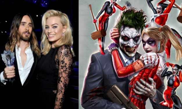 Jared Leto as the Joker, Margot Robbie as Harley Quinn